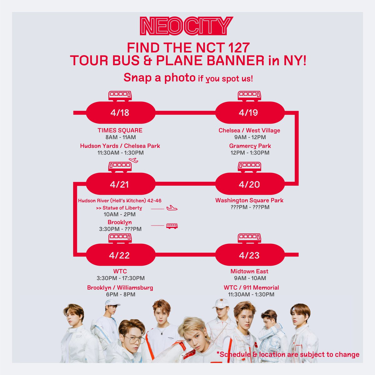 FIND THE NCT 127 TOUR BUS &amp; PLANE BANNER in NY!  snap a photo if you spot us!  The location for 20th was changed  #NEOCITY_TOURBUS  #NEOCITYinUSA #NCT127inUSA  #NEWYORK #NY #NCT127 #NEOCITY #NCT127TOTHEWORLD  #NCT127_1st_World_Tour<br>http://pic.twitter.com/05RxKS309I