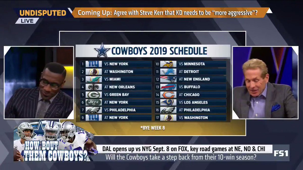 """HOW 'BOUT THAT COWBOYS SCHEDULE!? This is relatively easy. 12-4. ... I'm sniffing Super Bowl here."" — @RealSkipBayless"