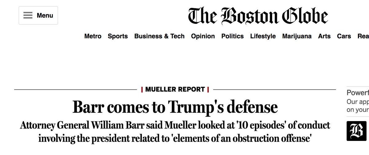 Boston Globe is clear about what Barr did just now: