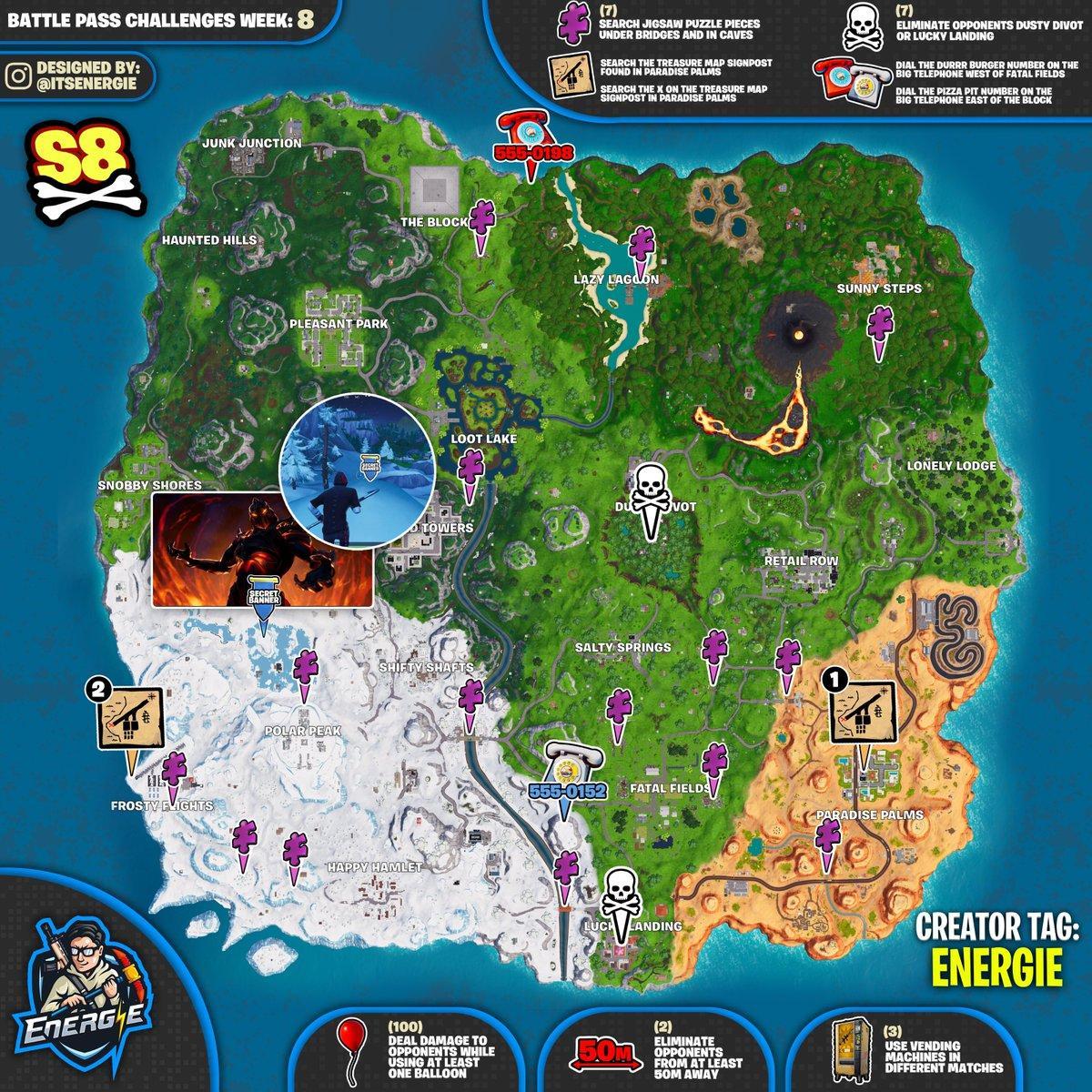 Sfide Settimana 8 Season Stagione 8 puzzle jigsaw Fortnite