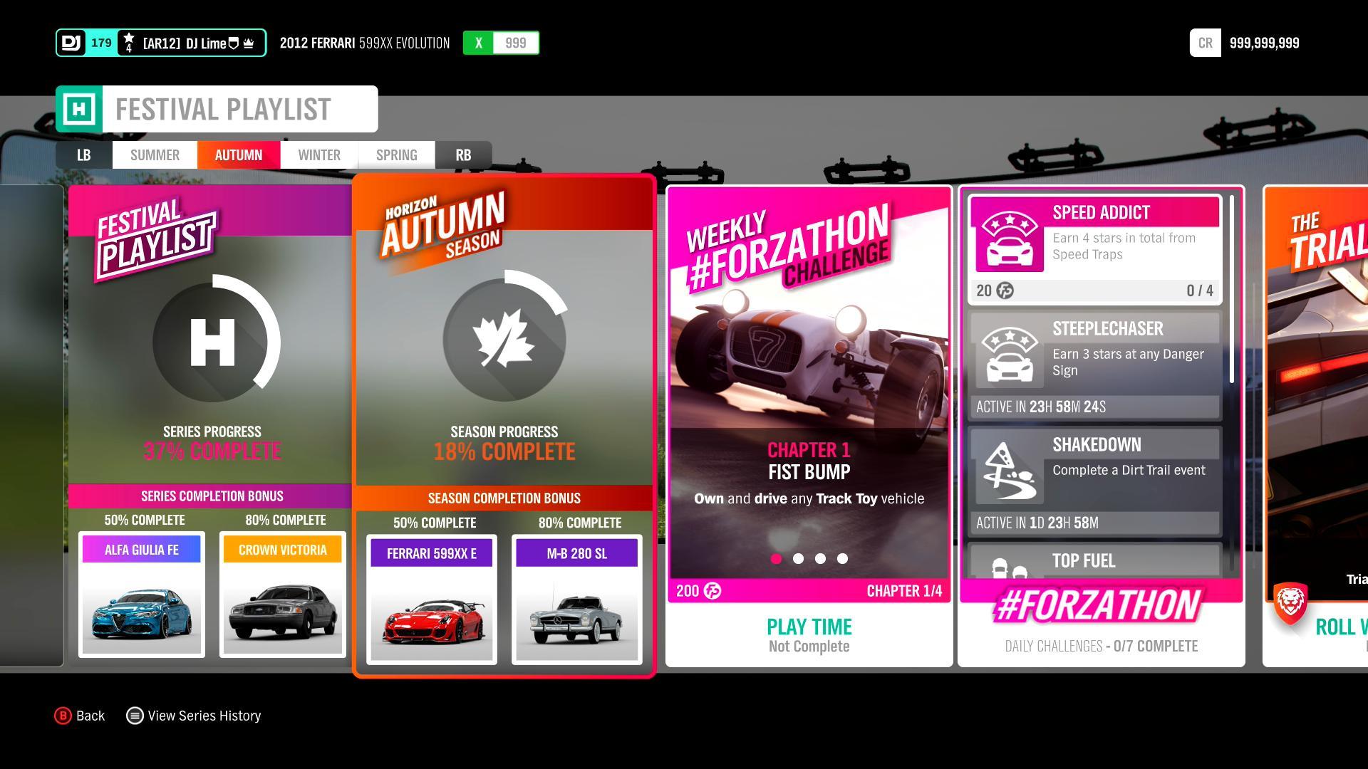 Emil Straher On Twitter Forzahorizon4 Forzathon Main Seasonal Items To Look For Ferrari 599xx E New To Fh4 Mercedes Benz 280 Sl Other Weekly Rewards Plymouth Fury New To