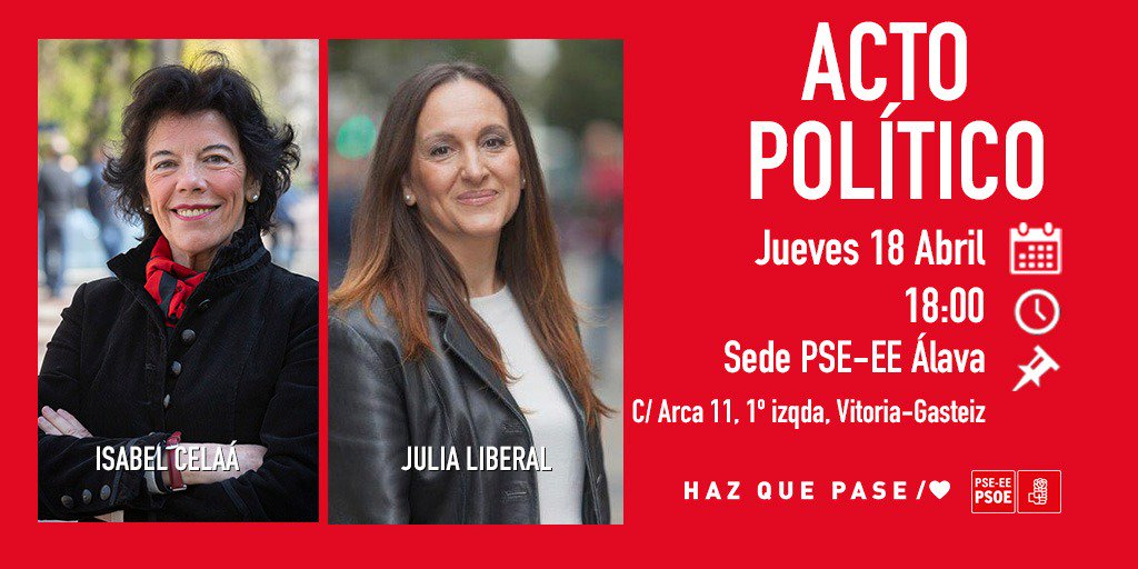 🌹 #LaEspañaQueQuieres 🌹  #28A Con @CelaaIsabel y @JULIA_LIBERAL 📍 Sede PSE-EE Álava, C/ Arca 11 (#Vitoria #Gasteiz) 📆 Hoy, 18 de abril ⏰ A las 18:00 horas.   ♥️ #EgizuPosible/♥️ #HazQuePase/♥️ #VotaPSOE