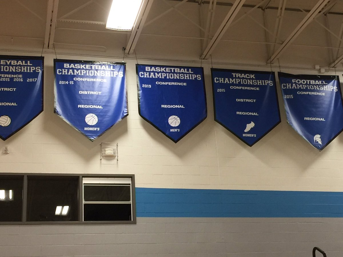 2019 banners are updated and hung in Griffin Gym. Proud of Men's Basketball and Swimming for adding to the list of champions. @CSDSwimming @CSDbasketball