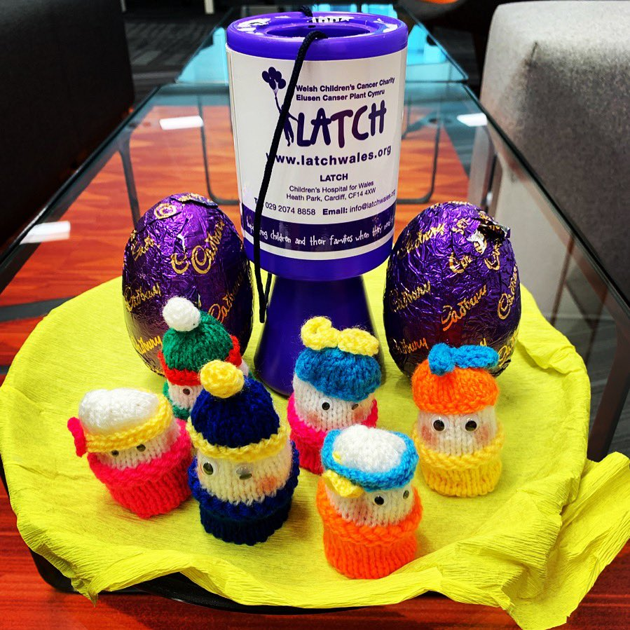 This week in the office we've been getting ready for Easter and selling these amazing knitted Easter chicks to raise money for the #TourdeLATCH! 💜🐥 Happy Easter! 🐥 @LATCHWales #easter