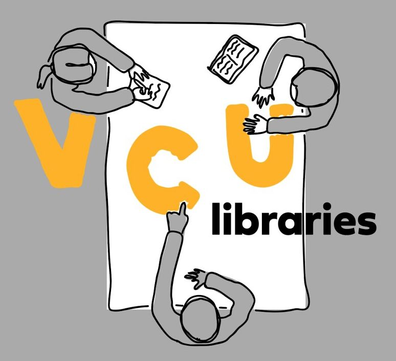 image of the winning design for a V-C-U Libraries tshirt, illustration from above of 3 people at a table, collaborating on a project, with V-C-U in large gold hand-drawn letters, and libraries in black sans serif typeface
