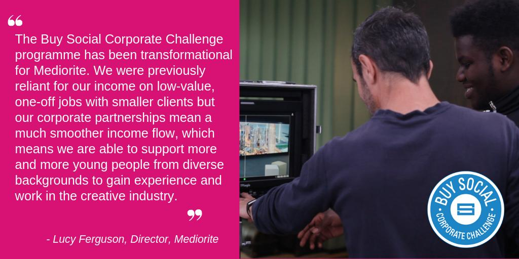 We support our members like @mediorite to work with our #BuySocial Corporate Challenge Partners, helping them to grow their businesses and increase their impact.  Find out more about becoming a member with SEUK >> http://ow.ly/PKTO50qLCbM    #socent