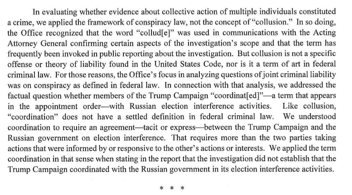 """Further evidence that Barr is a hack, speaking to an audience of one was his use of the word """"collusion"""" at the press conference. Conveniently, he failed to mention the following. On page 2, Mueller rejected the use of the word collusion, as void of any legal meaning <br>http://pic.twitter.com/pM1qF3XTfv"""