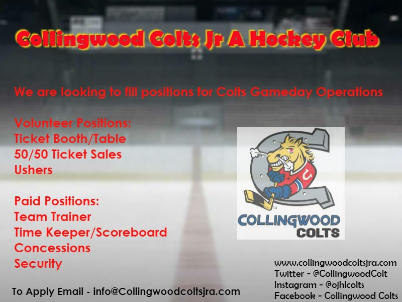b7388c98f9d Paid   Volunteer Positions available for Colts gameday operations staff.  info collingwoodcoltsjra.com to apply! Founders Club tickets are almost  gone!