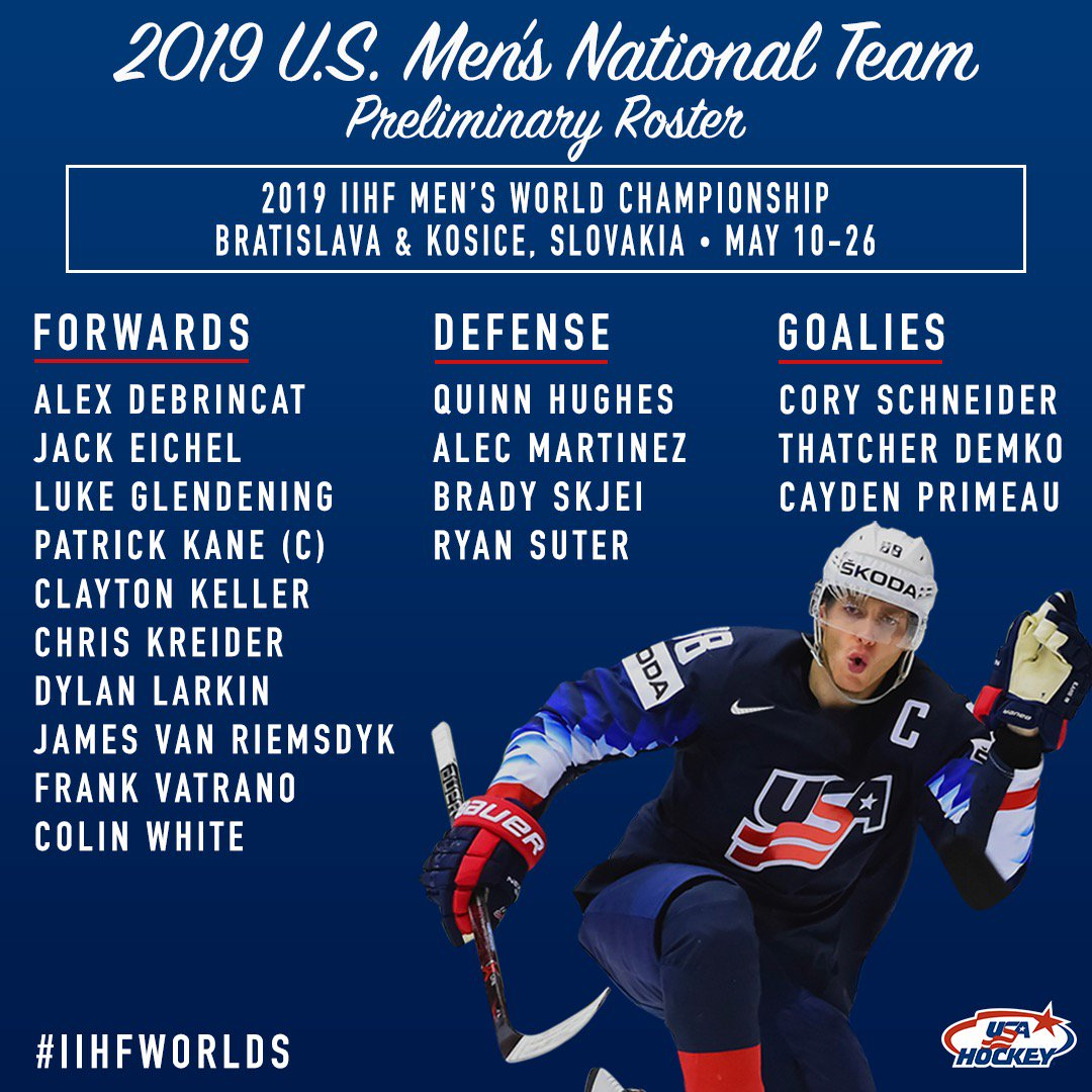 #TeamUSA names its first 17 players to the 2019 U.S. Men's National Team. #IIHFWorlds 🇺🇸  Details → http://bit.ly/2V6ANsu
