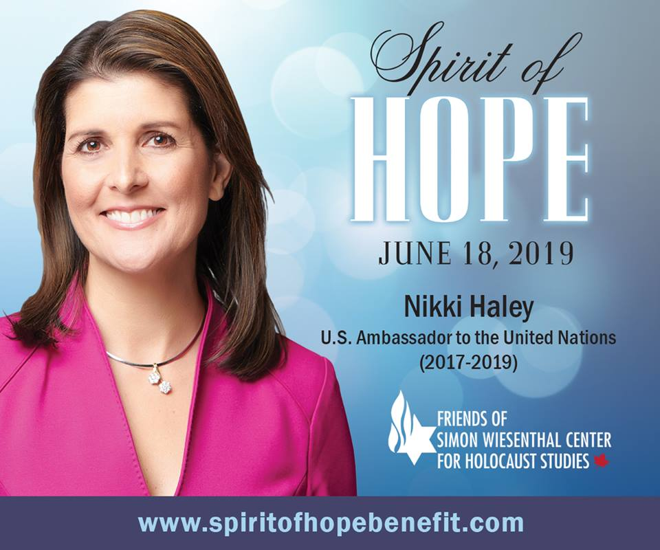 On June 18 at Spirit of Hope, FSWC will present former US Ambassador to the @UN, @NikkiHaley, an award for her work in championing #humanrights. Join us in thanking Haley for her incredible work and contributions. Register for Spirit of Hope: http://www.spiritofhopebenefit.com.