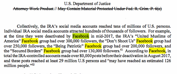 An exhausting amount has been written about Russian Twitter bots, but their use of Facebook groups was so cynical.  I don't think we'll ever have a full understanding of how much influence they were able to exert.  Mueller Report estimates 126 million Americans reached.