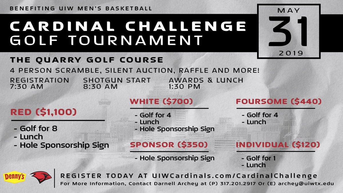 Mark your calendars, the Cardinal Challenge Golf Tournament is coming up!   Gather your foursome or sign up as an individual and support UIW Men's Basketball.  #TheWord