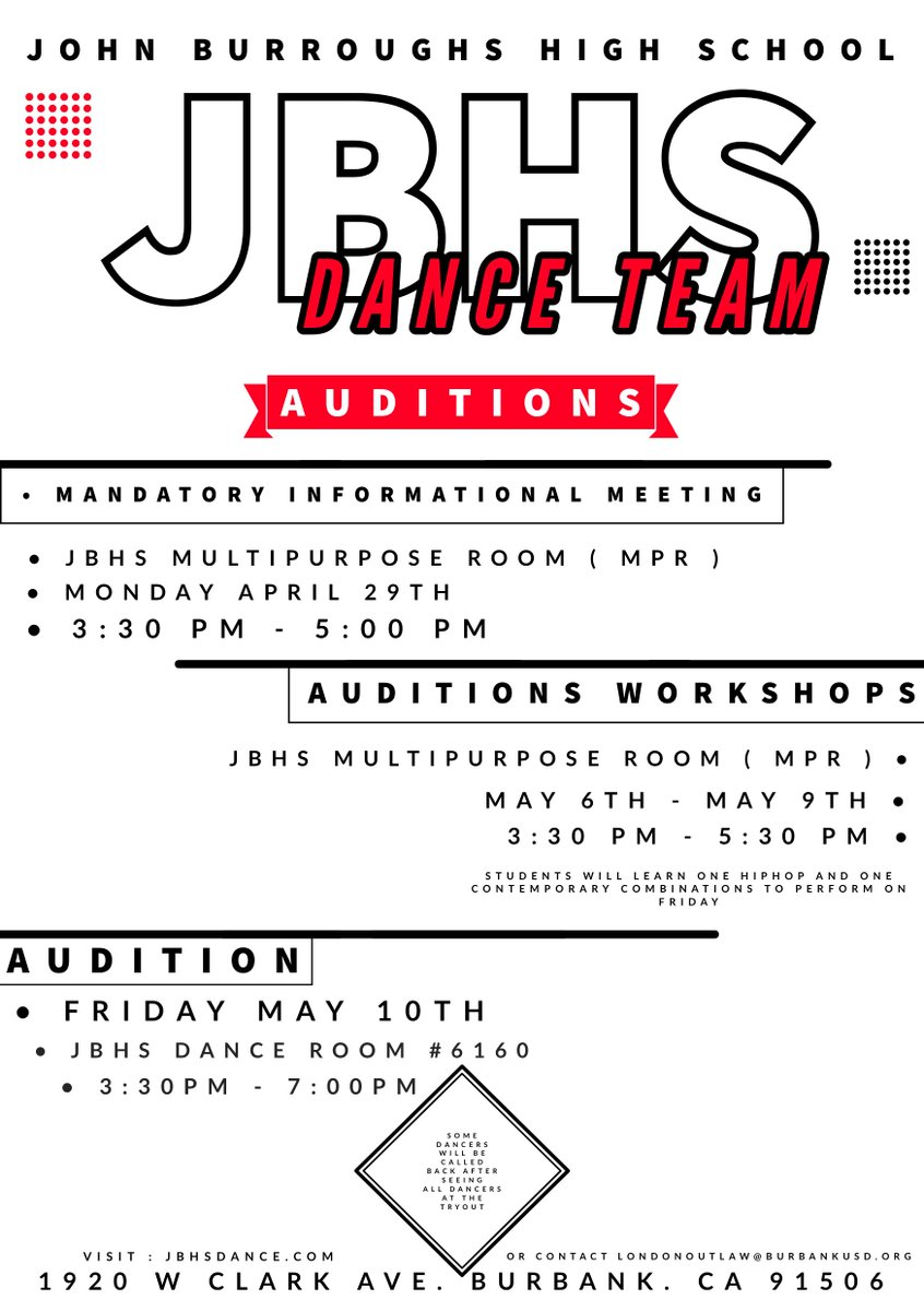 359c951039 John Burroughs HS Dance team auditions. Mandatory informational meeting on  April 29th at 3 30-5 00pm in the MPR (for both boys and girls). ...