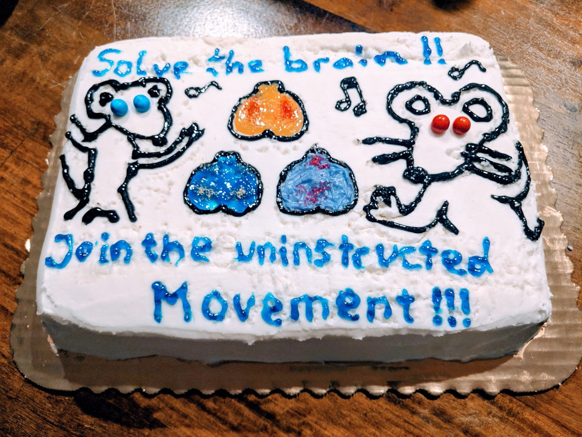 Find it hard to sit still? You're not alone: during expert decision-making, mice explore a rich movement landscape that profoundly shapes neural activity. To solidify & communicate our finding, we added #Neuropixels recordings to our paper & made a cake.  https://www. biorxiv.org/content/10.110 1/308288v3  … <br>http://pic.twitter.com/bXIUJBVwo9