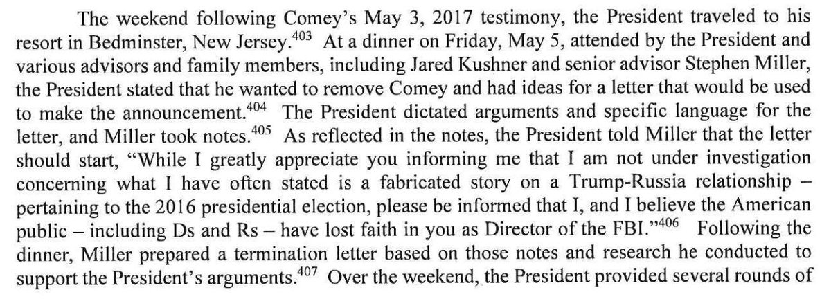 Mueller report documents that White House flatly lied to cover up fact that Trump made the decision to fire Comey.  First screen cap: Trump makes decision.  Second screen cap: Trump tries to get Rosenstein to say it was his decision. He refuses, but WH spox says it publicly.