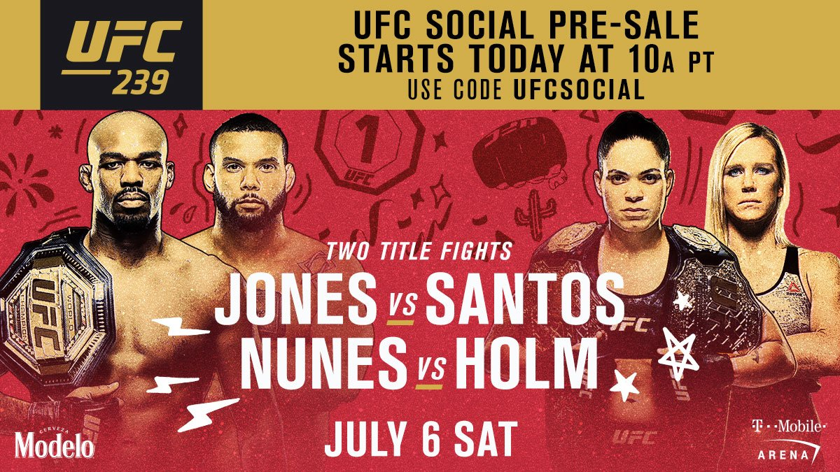 Always looking out for our social friends!  The social pre-sale for #UFC239 starts NOW!  ➡️ http://bit.ly/2UKqT0f  #UFCFightWeek