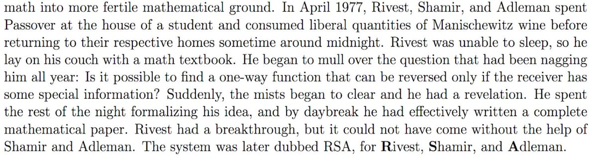 Happy Passover! In 1977 MIT professor Ron Rivest came home after a Manischewitz-filled sedar and couldn't sleep - so he stayed up & wrote an entire paper that became the basis for RSA encryption: https://bit.ly/2PAMAs5 v/(@Calderbank160O @UChicago) #tdih