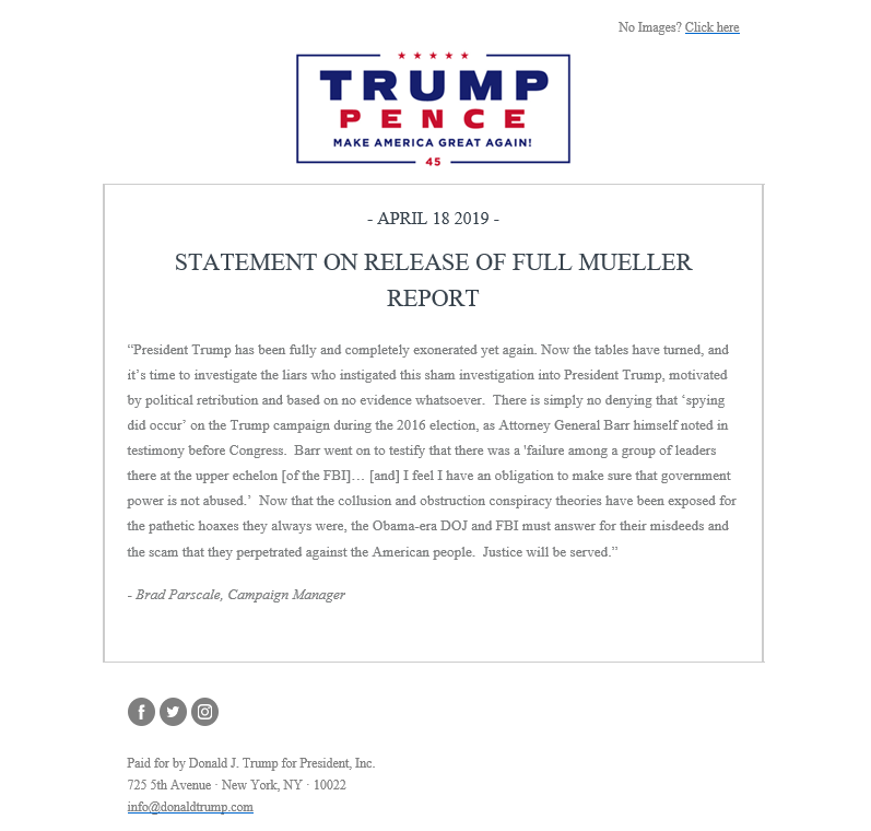 Trump 2020 Campaign statement from Brad Parscale on the MuellerReport…