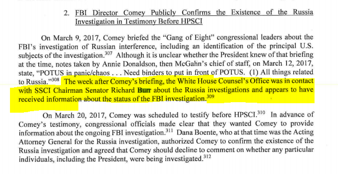 Sen. Richard Burr--who everyone has been treating as conducting a legit investigation--gave Trump's team a heads up about who was being investigated