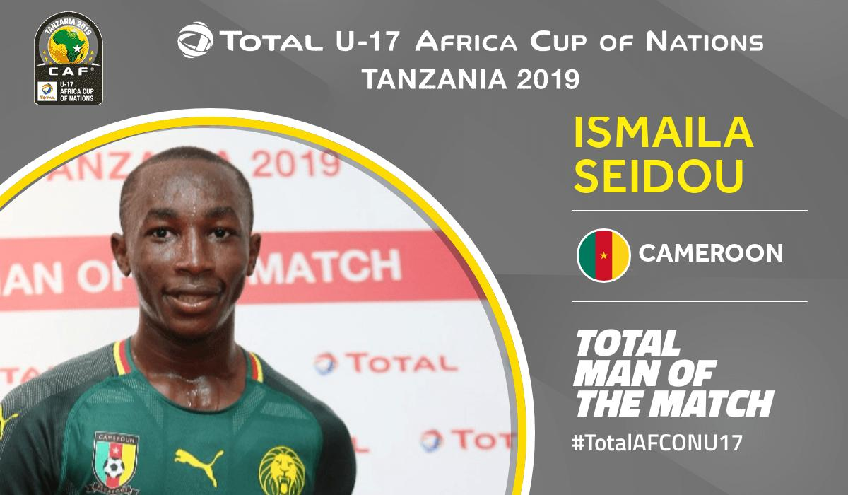 Congratulations to Total Man of the Match of Cameroon 🆚 Morocco Ismaila Seidou No.19 from Cameroon @FecafootOfficie #TotalAFCONU17