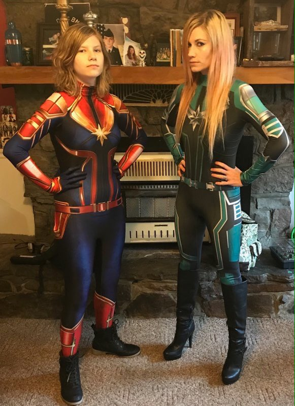 My wife and daughter are both going as Captain Marvel to see Endgame. My wife is in the Starforce outfit. I have a quantum realm hoodie on the way that I'm going to wear. #Avengers  #CaptainMarvel  #MarvelStudios