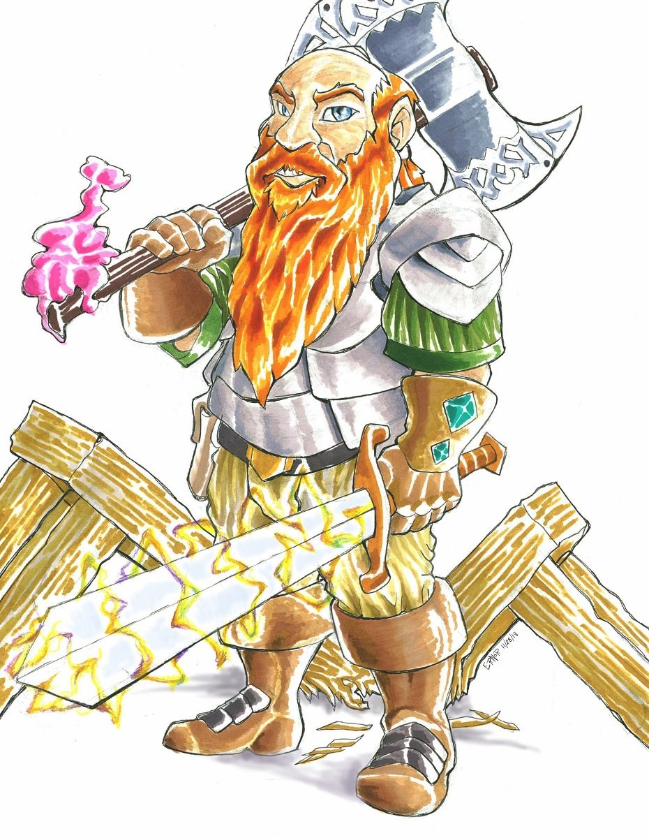 And naturally @jrdenton aja Beardo the Magnificent is our destructively loveable Tarbin the Dwarf. Buy extra Table Insurance when you see him coming! #DnD #DungeonsandDraggets http://www.furaffinity.net/view/31233989/