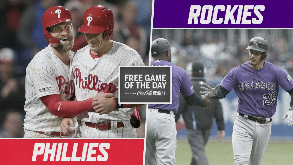 .@Phillies. @Rockies. Get ready for dingers.  Watch it FREE at 8:40pm ET on #MLBTV, pres. by @CocaCola:  https:// atmlb.com/2r6Y4tV  &nbsp;  <br>http://pic.twitter.com/aR5j1V1M3I