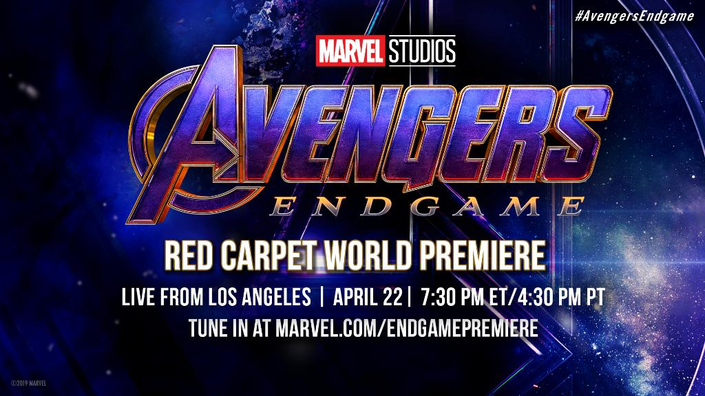 We're going LIVE from the World Premiere of Marvel Studios' #AvengersEndgame next Monday, 4/22 at 7:30pm ET/4:30pm PT! Stay tuned for cast interviews, games with fans, and more from the red carpet: http://www.marvel.com/endgamepremiere