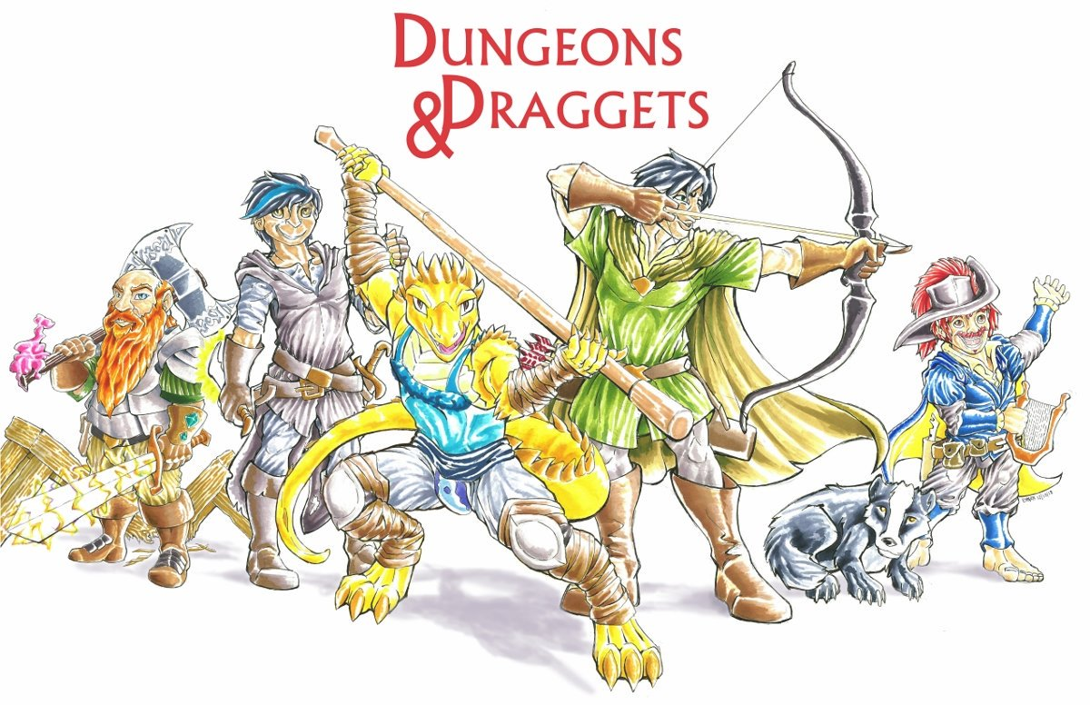 The whole Dungeons and Draggets party together for the end of Season 1! Players, left to right: @jrdenten @MikoPaintytail @xandertheblue @Foxfurous and @DustyMoongazer ! #DnD #DungeonsandDraggets http://www.furaffinity.net/view/31234118/