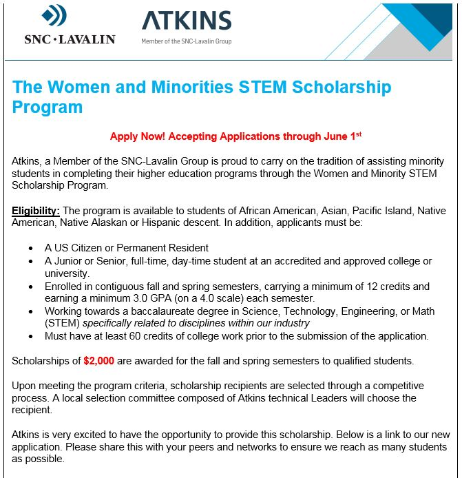 The Atkins Women and Minorities STEM Scholarship Program is now open! #CUDenver #CivilEngineering <br>http://pic.twitter.com/EomXVfQb6U