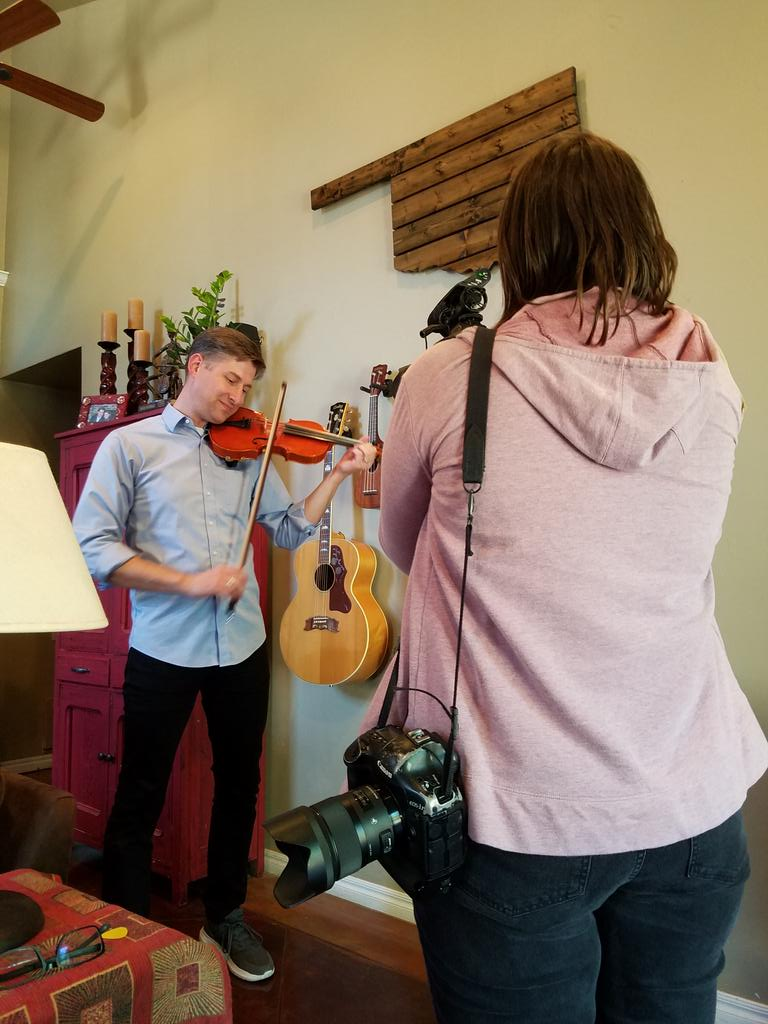 Hanging out with #Oklahoma musician @PeterMarkes with @sarahcphipps of @NewsOKPhoto. #storycomingsoon