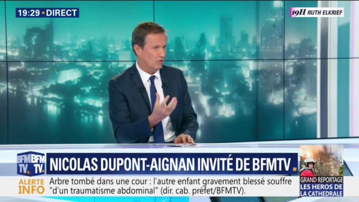 """Nicolas Dupont-Aignan veut """"qu'on reconstruise à l'identique la cathédrale"""" Notre-Dame de Paris"""
