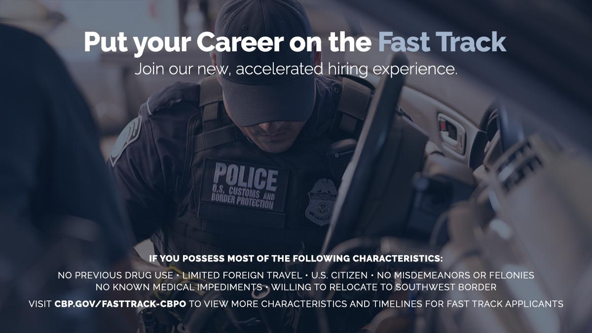 Do you want an exciting, fast-paced career & can commit to an accelerated hiring timeline? Contact your local @CBP recruiter to learn more about becoming a #CBP Officer with #FastTrack! The next Fast Track session opens on 5/1! http://bit.ly/2DD9URV #JoinAmericasFrontline