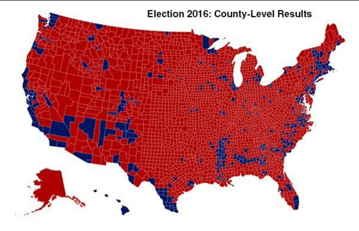 Without the electoral college, every person in the red would have no voice in America.  So when someone says the electoral college should be abolished, they're saying they don't want the people in red to be represented.