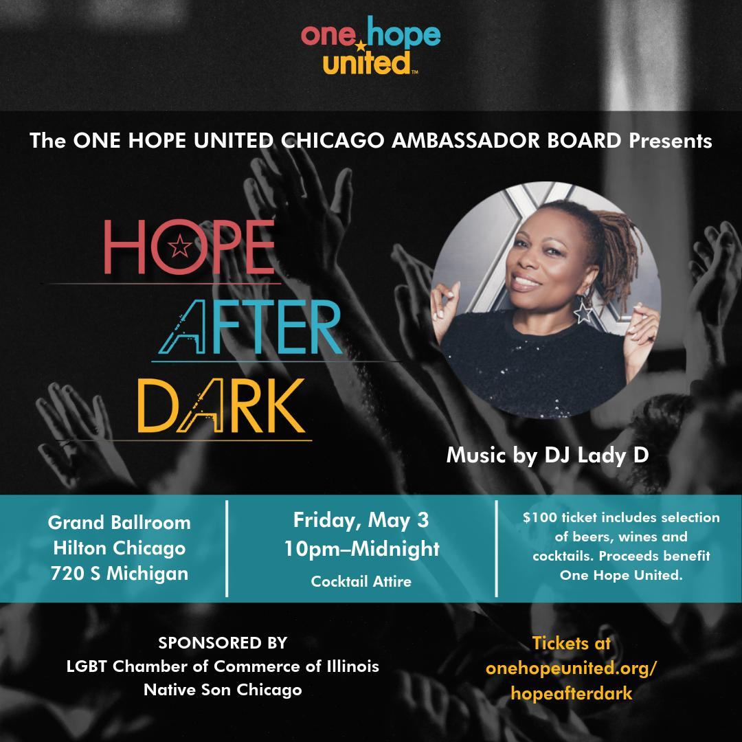 test Twitter Media - Don't miss this year's first Hope After Dark! Your ticket will include a two-hour party featuring @djladyd and a selection of beers, wines and cocktails in the Hilton Chicago Hotel Grand Ballroom.  Tickets available at https://t.co/DTo7UIw1gI  #WhyIHaveHope #OHUHIA #ChicagoDance https://t.co/Q9xVL5empl