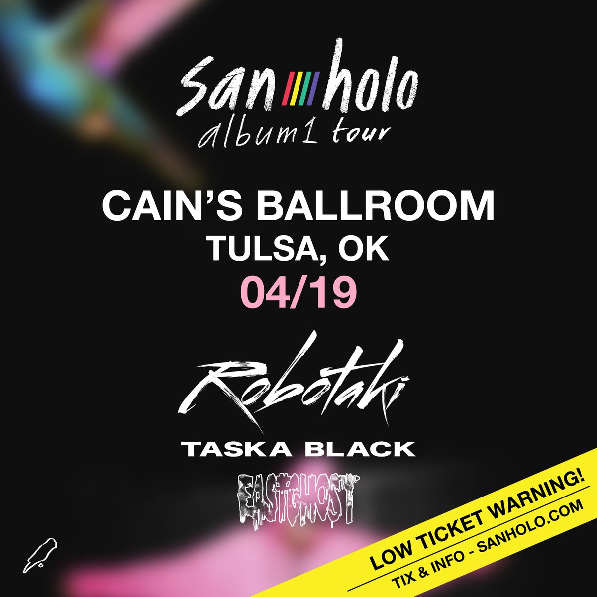 This Friday - April 19th - @sanholobeats #album1tour with special guests @Robotaki @TaskaBlack and @EASTGHOST starting at 8pm.  Get your tickets in advance and don't miss out... https://ticketf.ly/2Mb2Pfn