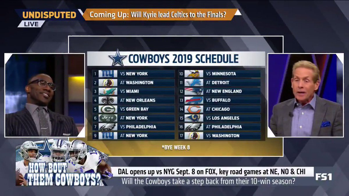 """""""HOW 'BOUT THAT COWBOYS SCHEDULE!? This is relatively easy. 12-4. ... I'm sniffing Super Bowl here."""" — @RealSkipBayless"""