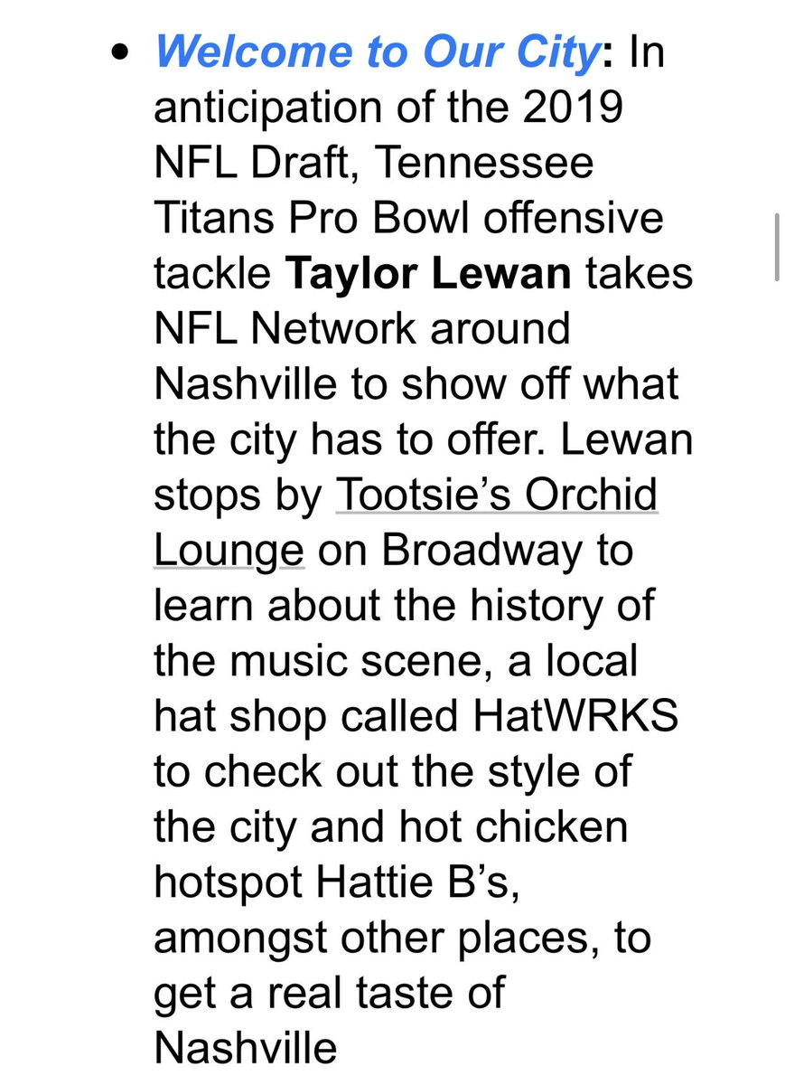 Here's how @Titans left tackle @TaylorLewan77 will be involved in @nflnetwork's @nfldraft coverage in Nashville.