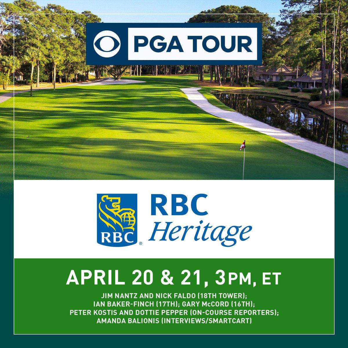 .@RBC_Heritage at Harbour Town Tees Up CBS SPORTS'  Spring-Summer Run of 14 @PGATOUR events