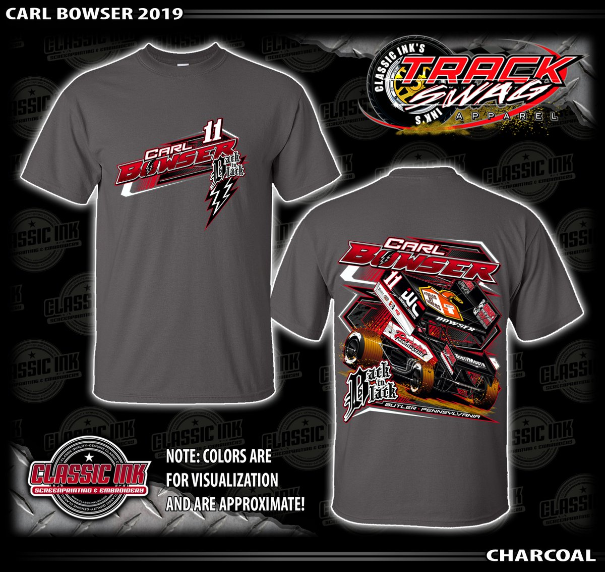 87b94ada876 Limited Edition Back in Black tee in three colors, all sizes (YS - 4XL),  all available online today at http://CarlBowser.com and at the track soon.