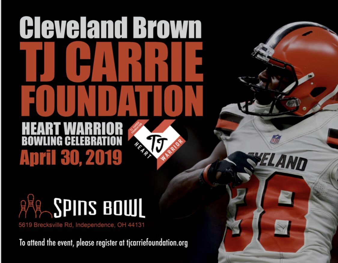 Come enjoy TJ Carrie Charity Bowling Event. Good food,drinks, competition & great cause. Register @ https://tjcarriefoundation.org/ Spaces limited