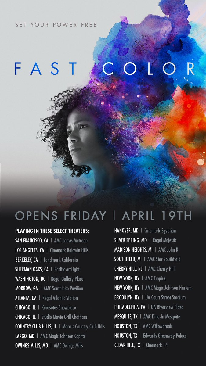 FAST COLOR in select cities tomorrow! #FastColorMovie #FastColor