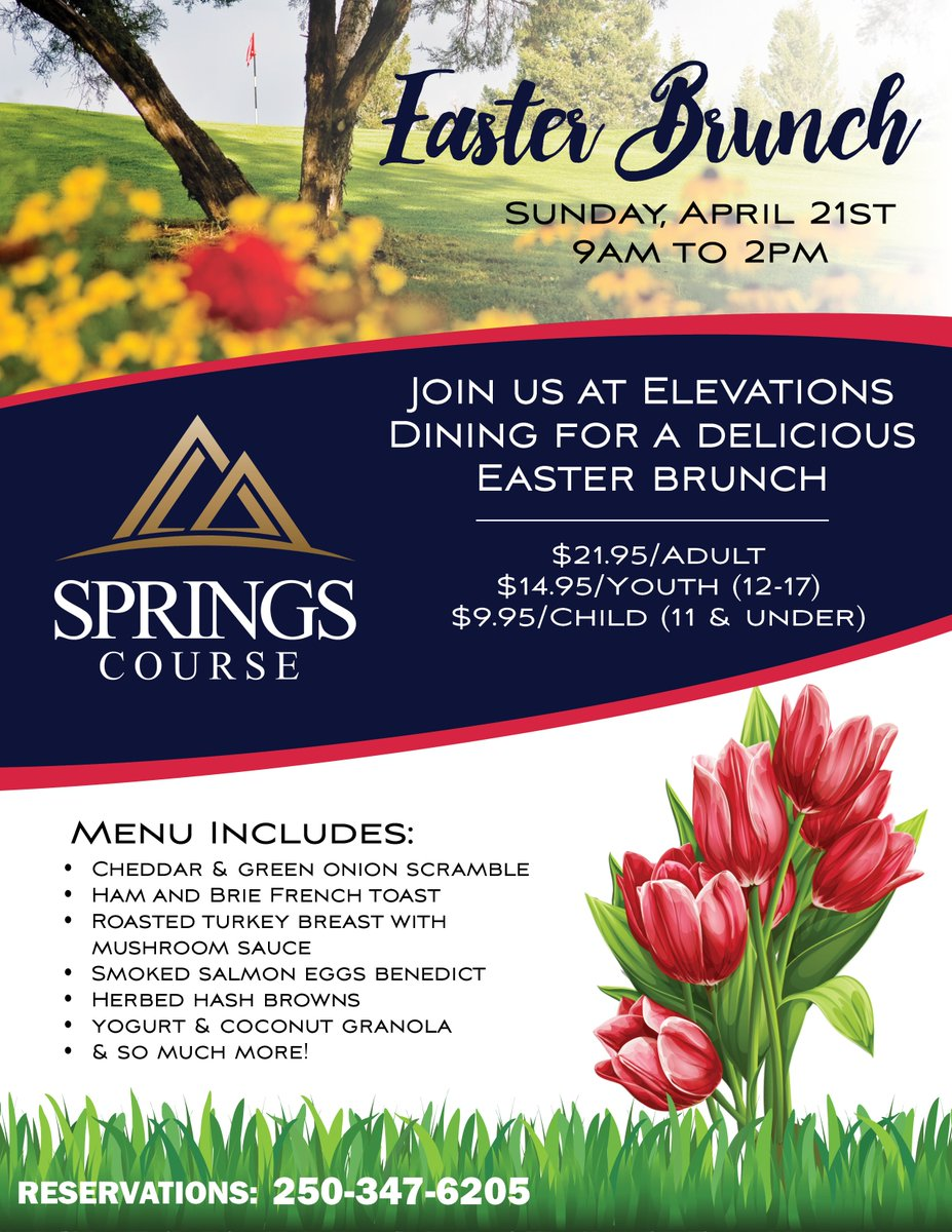 We've got your #EasterBrunch plans covered! Join us on Sunday, April 21st from 9am to 2pm at Elevations Dining at the #SpringsCourse for the perfect meal with your family.  Reservations: 250-347-6205  #RadiumGolf #Radium #RadiumDining https://t.co/TaYj9ifOKU