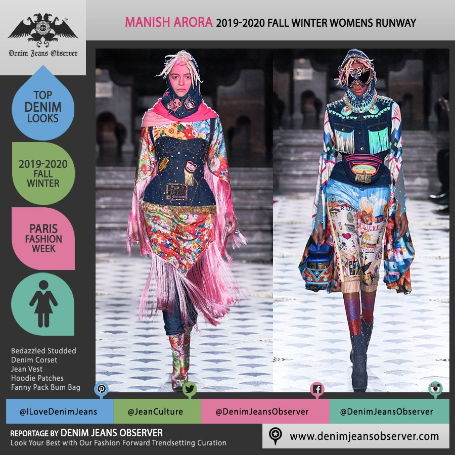Manish Arora 2019-2020 Fall Autumn Winter Womens Runway Catwalk Looks - Mode à Paris Fashion Week France - Finally Normal People India Tribal Face Painting Denim Jeans Corset Bustier Vest Fringes Bedazzled Hearts Hoodie Flowers Floral Print Stars Studs Bus Handbag Illustration Fanny Pack Bum Bag - Fashion Forward Trendsetting Curation by Denim Jeans Observer