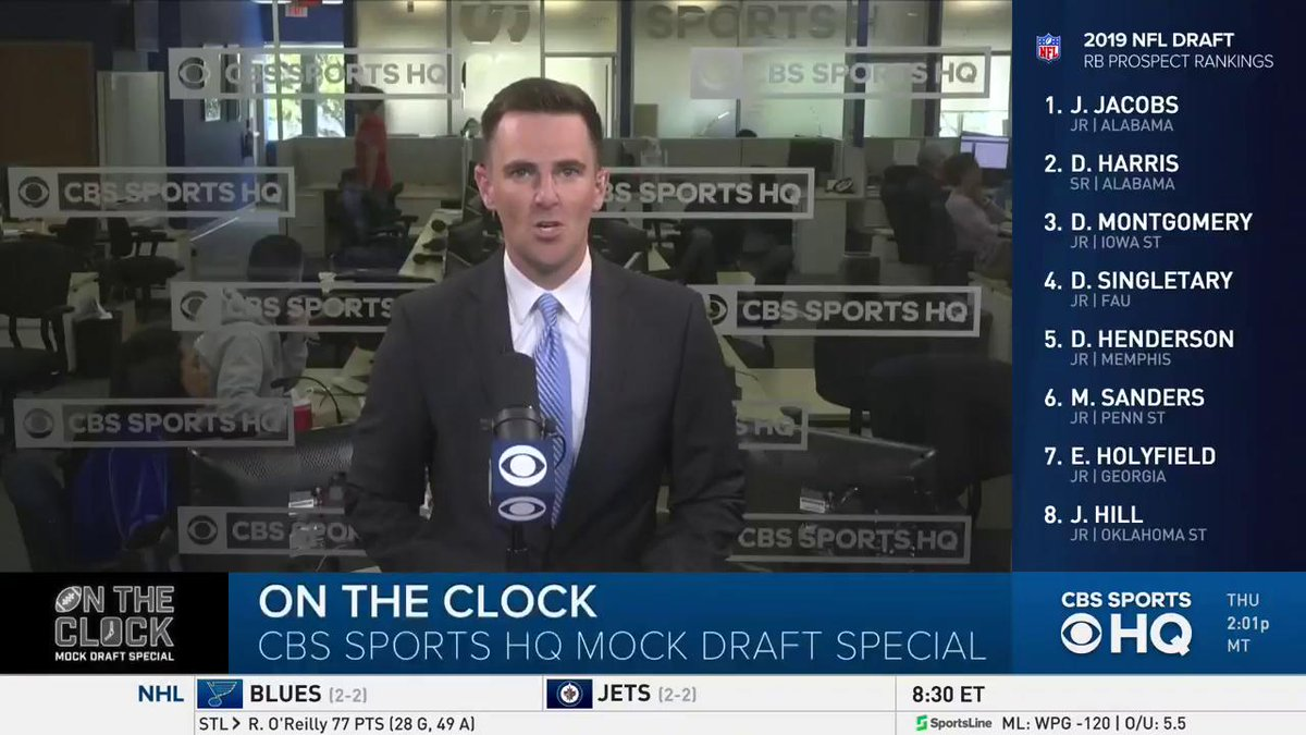 Welcome, we're On The Clock.  Our NFL Mock Draft Special is underway, with seven different football minds taking you through EVERY pick in the seven-round draft. Let's get started.  https://www.cbssports.com/live/