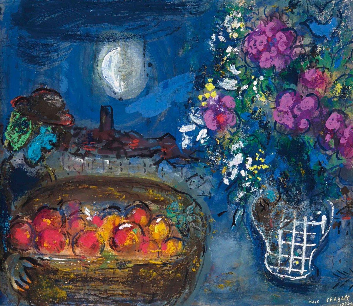 Corbeille de fruits et bouquet dans la nuit  Marc Chagall (1887 - 1985)