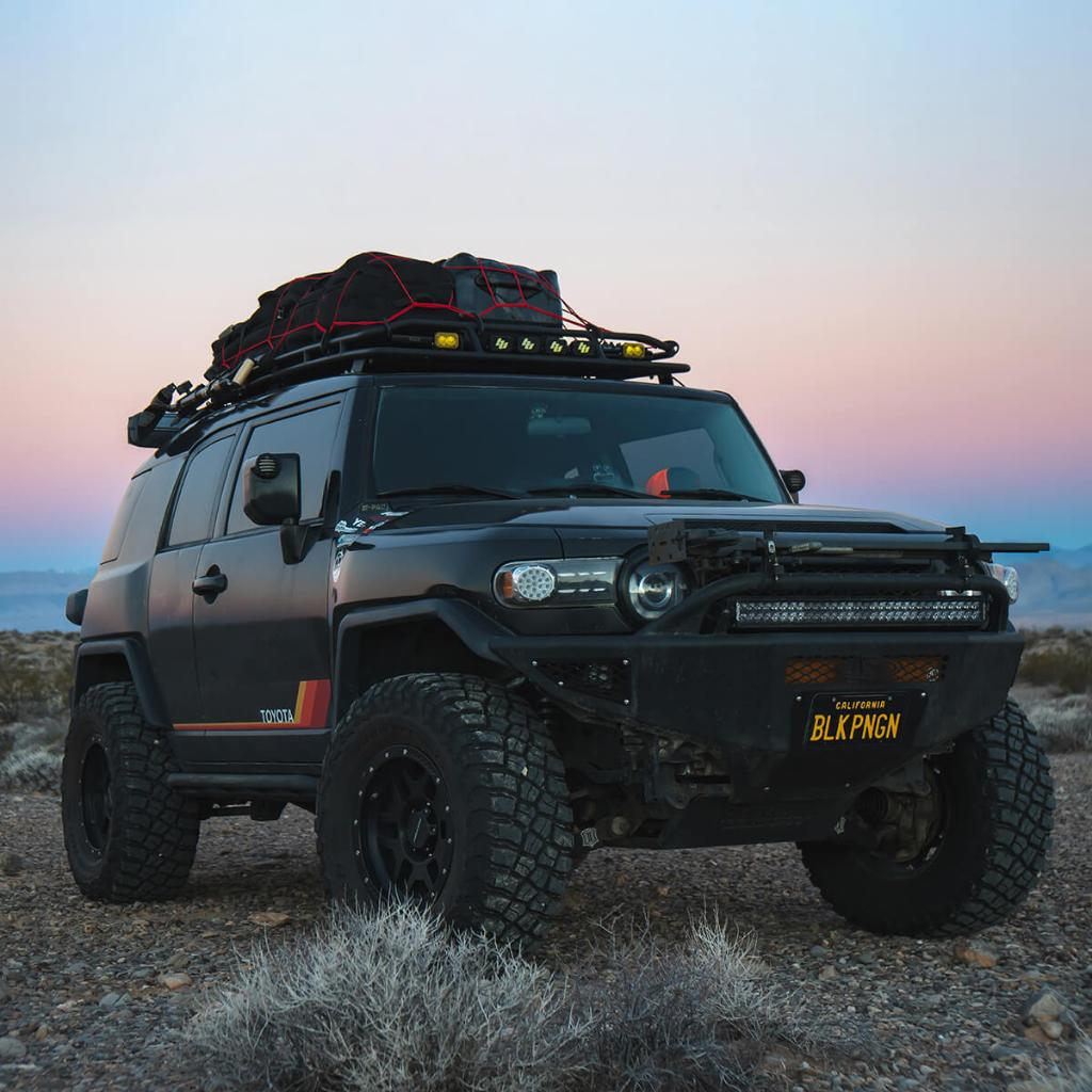 In search of mud and a good time, Chris' blacked-out @Toyota FJ Cruiser isn't afraid to dig in and get dirty. Especially when it's rolling on #KM3 tires. See the build at The Garage:  https:// bit.ly/2GupbHi  &nbsp;   #BuiltOnBFG <br>http://pic.twitter.com/vqJfnRolhC