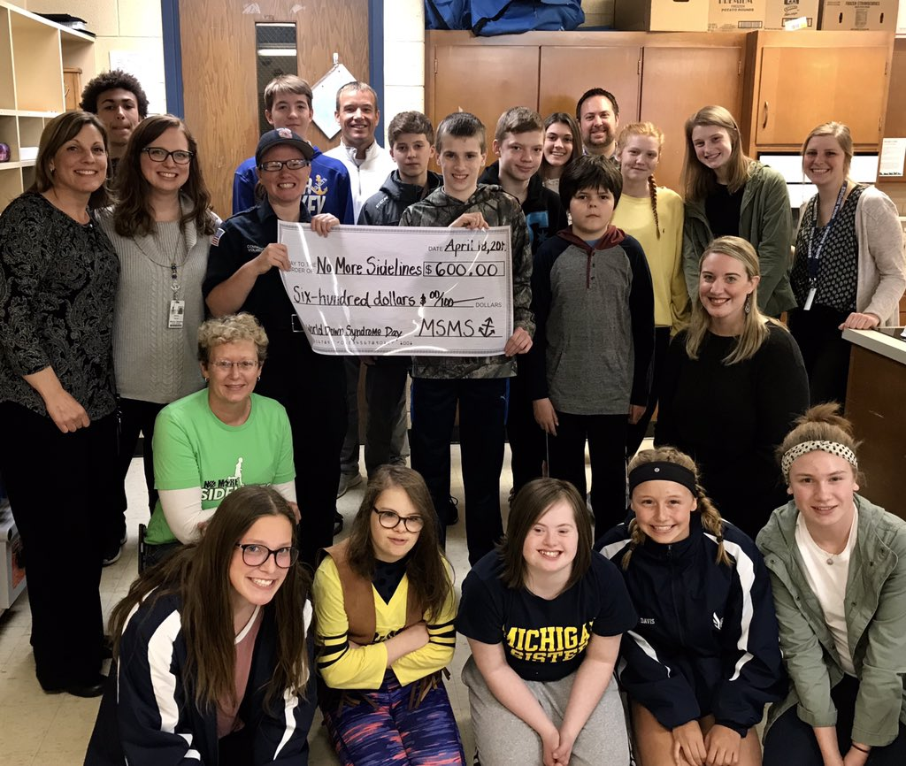 SAILOR PRIDE! 👏🏼 After leading a fundraising campaign on #WorldDownSyndromeDay, our MSMS Crewmates Peer-to-Peer Links Program presented a $600 check to #NoMoreSidelines on behalf of our entire @msms_sailors student body! #friendship #community #team