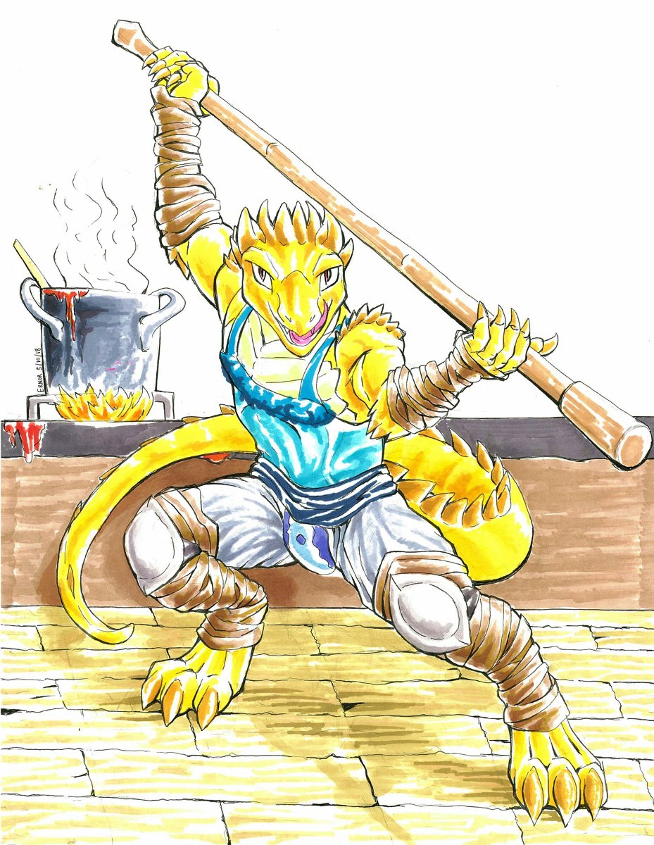 Our other D&D newcomer @xandertheblue chose to roll as Jaka the Bearded Dragon Monk. Here he is, ready to backflip into a splits kick to defend his precious chili! All hail Sweet Lizard Jesus!  Maybe he'll boop your snoot~ #DungeonsandDraggets #DnD http://www.furaffinity.net/view/31233884/