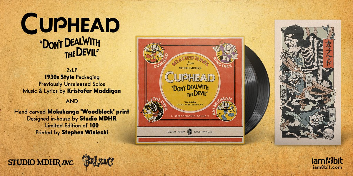 To celebrate today's launch on Nintendo Switch & Free Content Update, we've teamed up with @iam8bit to bring two very special projects to life: a 2xLP vinyl with all-new solos, and a horror-inspired wood block print featuring Evil Cuphead and Vile Mugman!  https://store.iam8bit.com/collections/cuphead…
